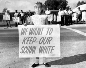 We want to keep our school white, protesting integration, 1960